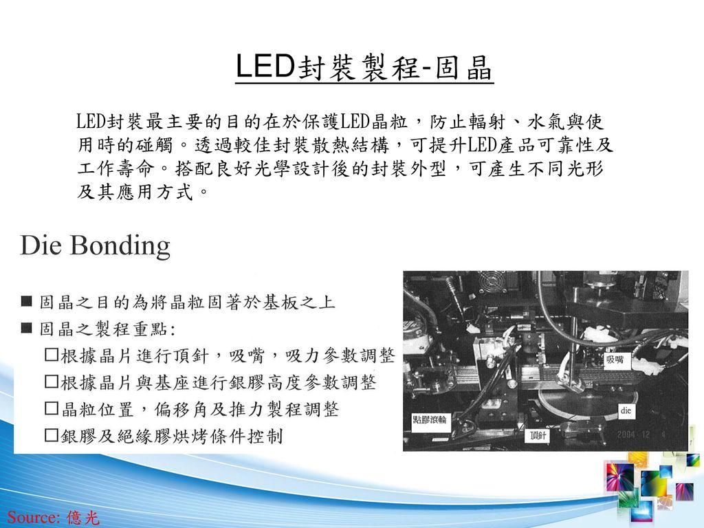 LED封裝製程-固晶 LED封裝最主要的目的在於保護LED晶粒,防止輻射、水氣與使用時的碰觸。透過較佳封裝散熱結構,可提升LED產品可靠性及工作壽命。搭配良好光學設計後的封裝外型,可產生不同光形及其應用方式。