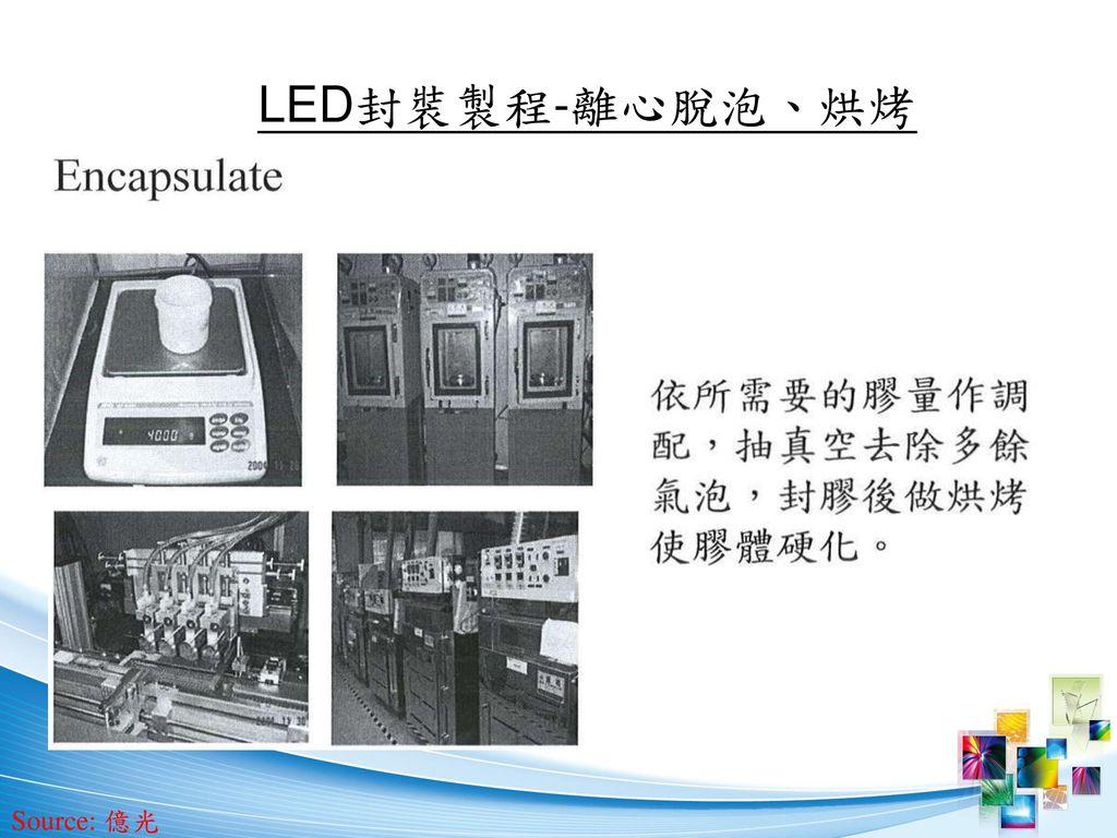 LED封裝製程-離心脫泡、烘烤 Source: 億光
