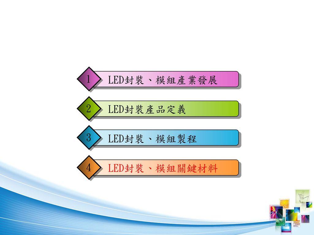 1 LED封裝、模組產業發展 2 LED封裝產品定義 3 LED封裝、模組製程 4 LED封裝、模組關鍵材料