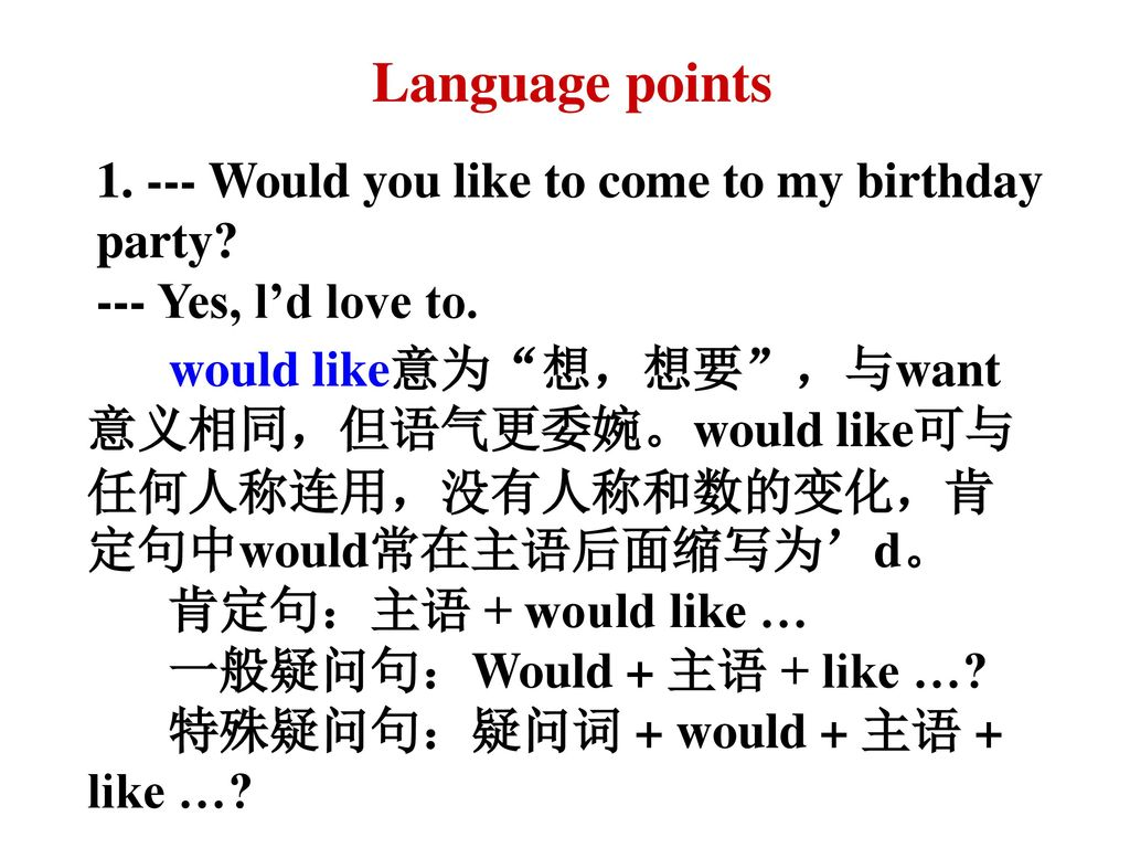 Language points Would you like to come to my birthday party