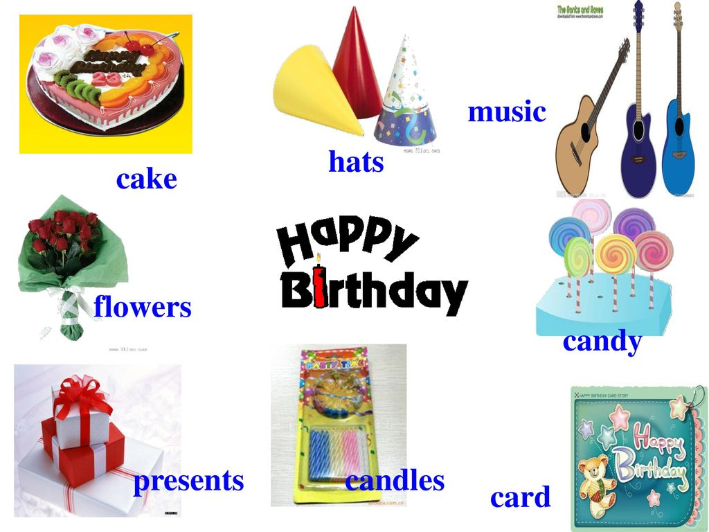music hats cake flowers candy presents candles card