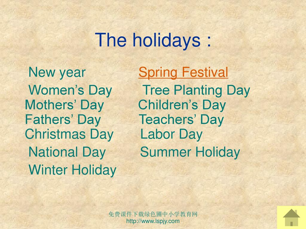 The holidays : New year Spring Festival