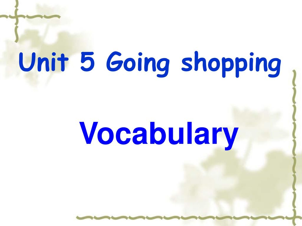 Unit 5 Going shopping Vocabulary