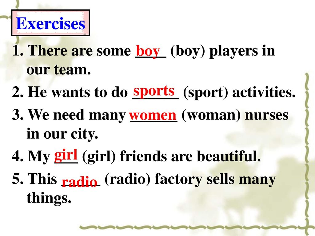 Exercises 1. There are some ____ (boy) players in our team. boy
