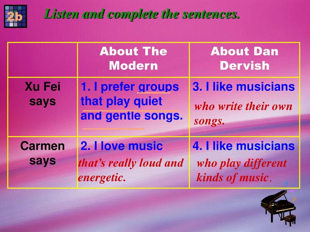 Listen and complete the sentences.