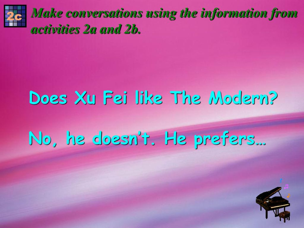 Does Xu Fei like The Modern No, he doesn't. He prefers…