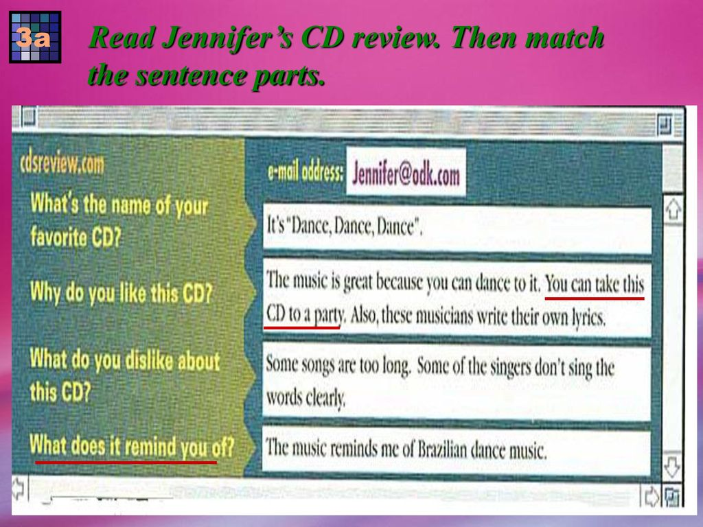 Read Jennifer's CD review. Then match the sentence parts.