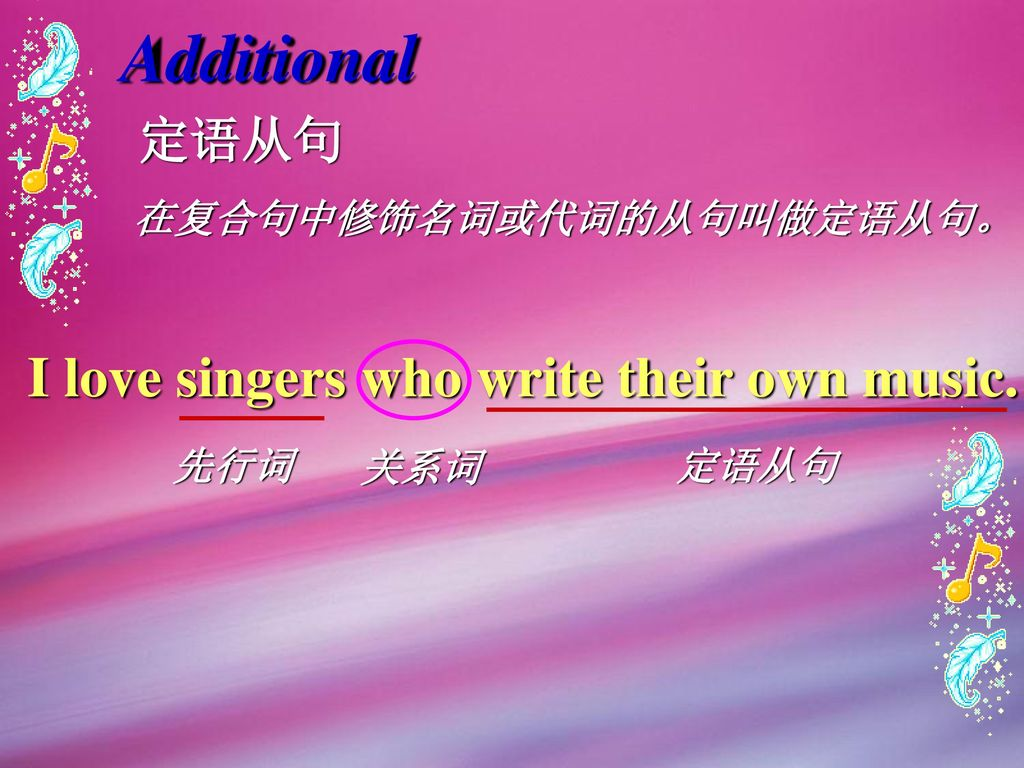 Additional I love singers who write their own music. 定语从句