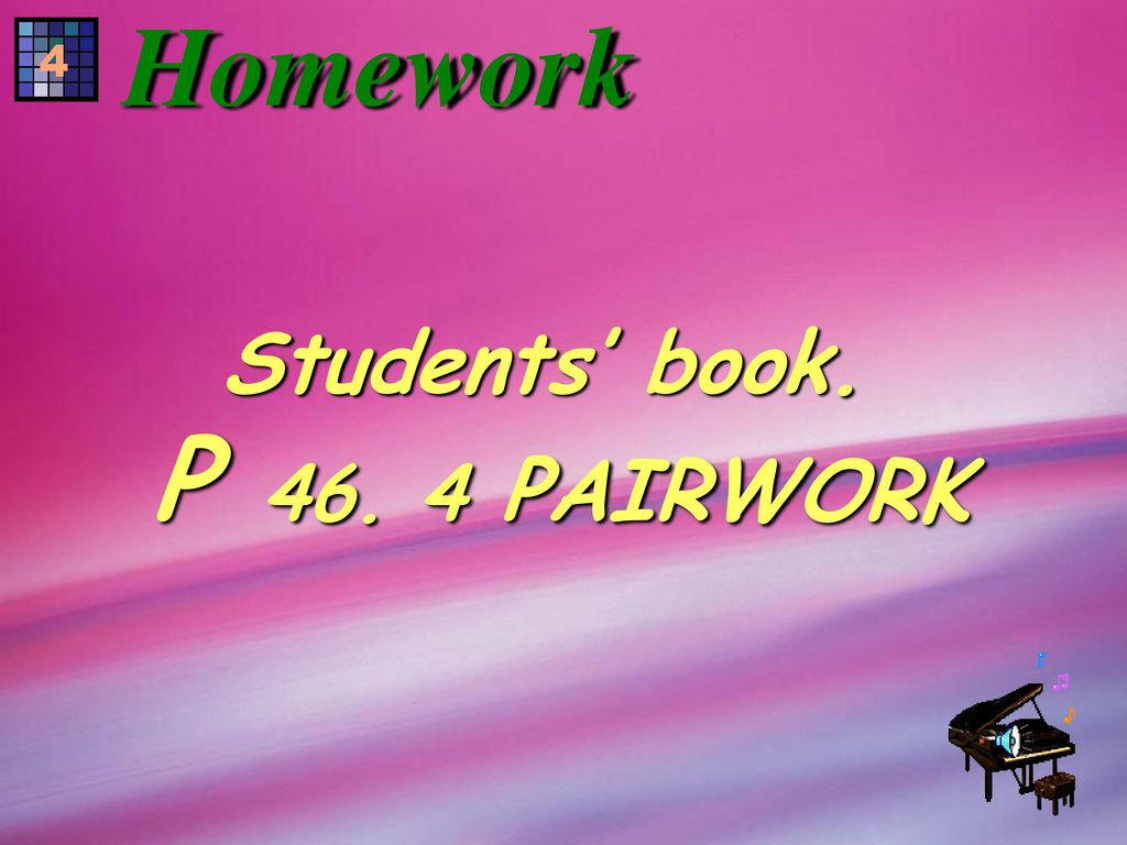 Homework 4 Students' book. P PAIRWORK