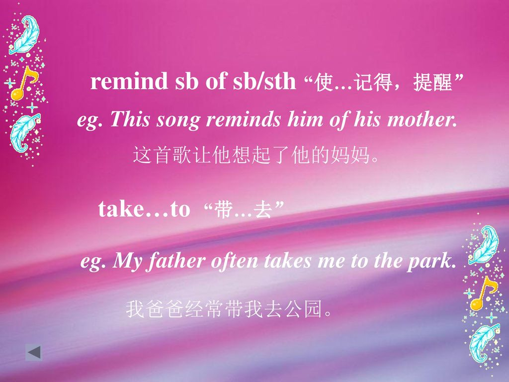 remind sb of sb/sth 使…记得,提醒