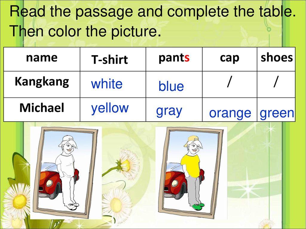 Read the passage and complete the table. Then color the picture.