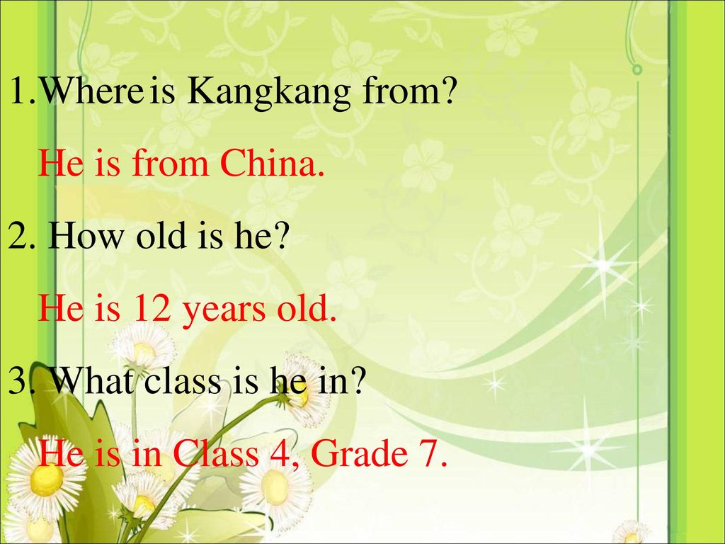 1.Where is Kangkang from He is from China. 2. How old is he He is 12 years old. 3. What class is he in