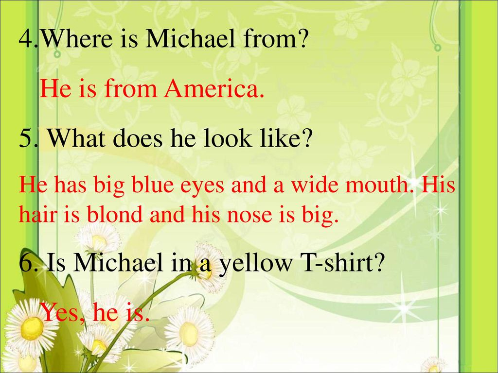 6. Is Michael in a yellow T-shirt Yes, he is.