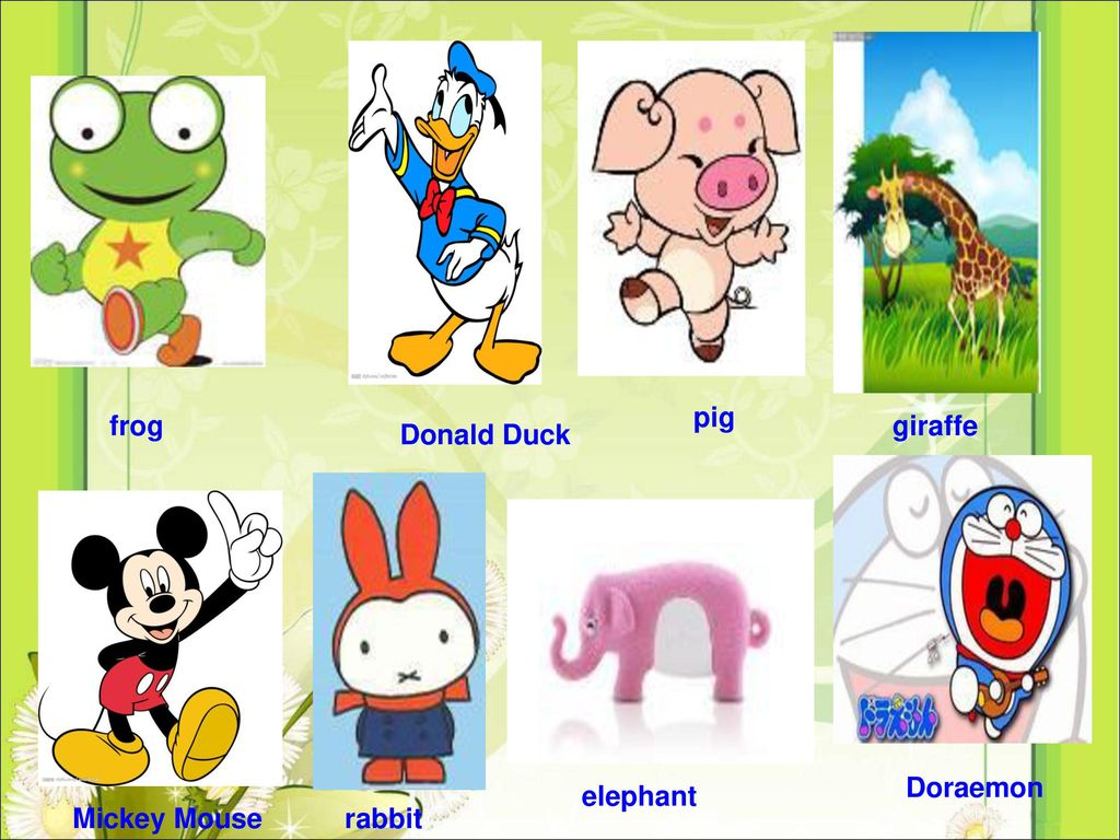 pig frog giraffe Donald Duck Doraemon elephant Mickey Mouse rabbit