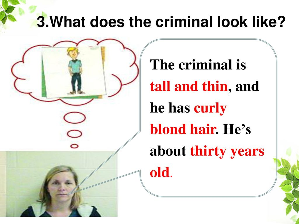 3.What does the criminal look like
