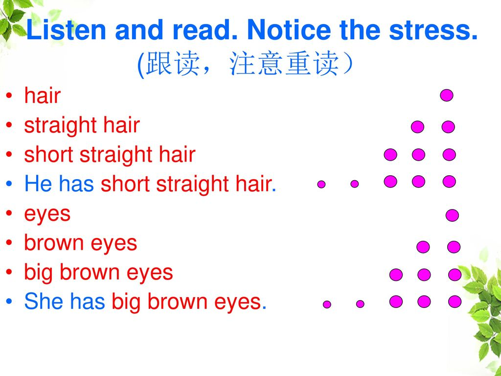 Listen and read. Notice the stress. (跟读,注意重读)