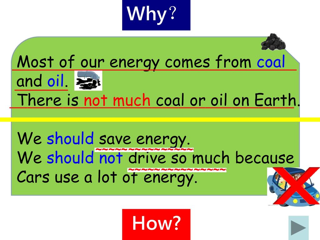 Why? How Most of our energy comes from coal and oil.