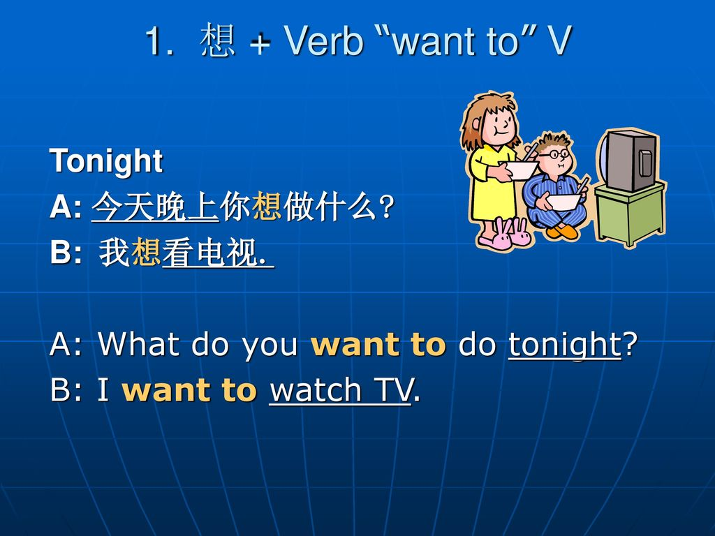 1. 想 + Verb want to V Tonight A: 今天晚上你想做什么 B: 我想看电视.