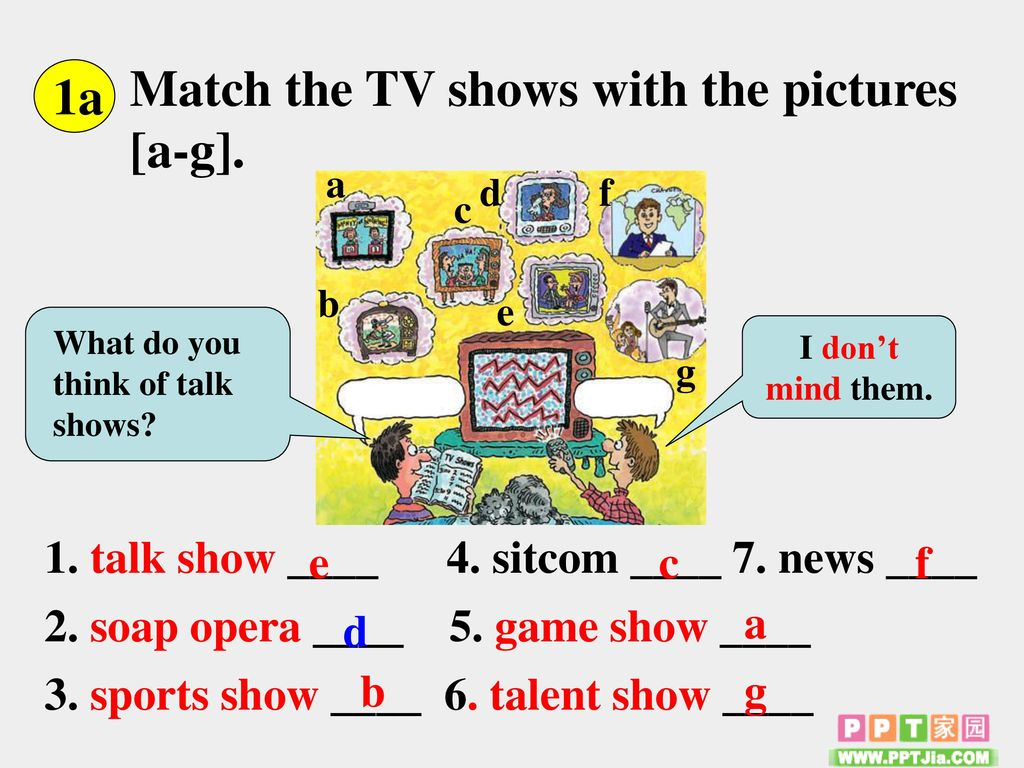 Match the TV shows with the pictures [a-g]. 1a