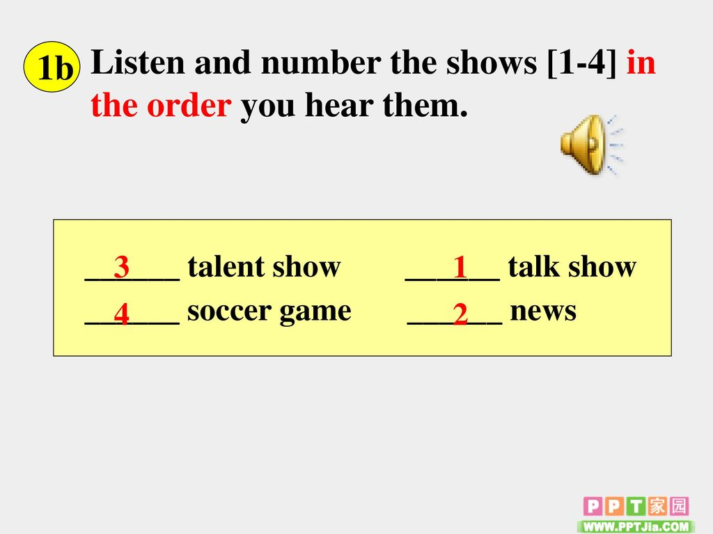 Listen and number the shows [1-4] in the order you hear them. 1b