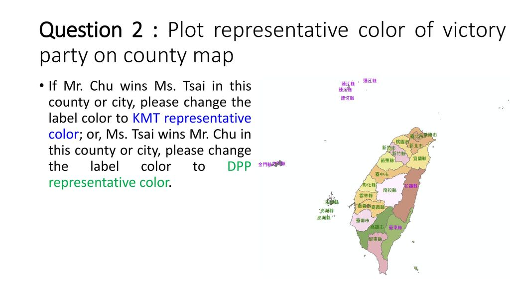 Question 2 : Plot representative color of victory party on county map