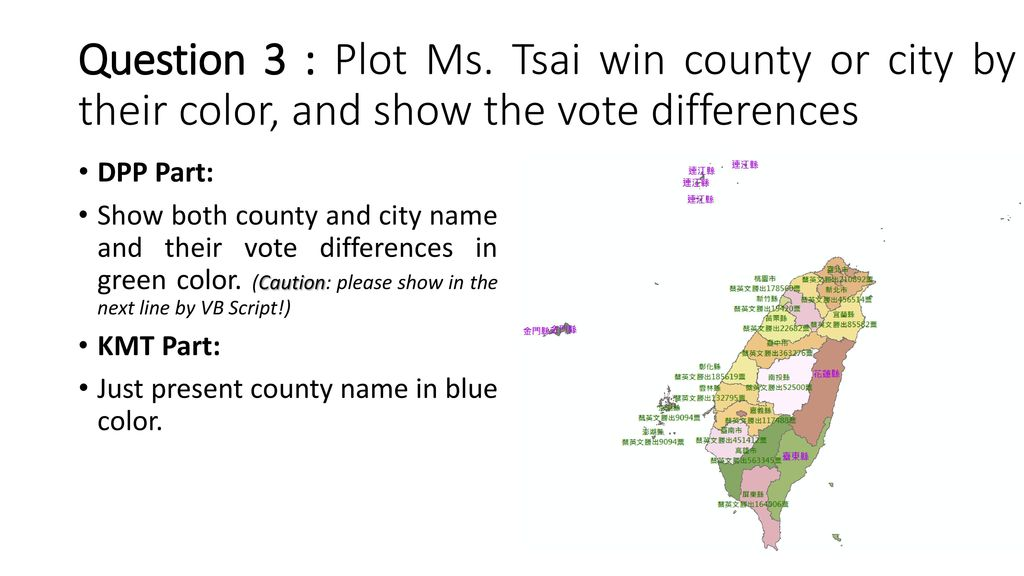 Question 3 : Plot Ms. Tsai win county or city by their color, and show the vote differences