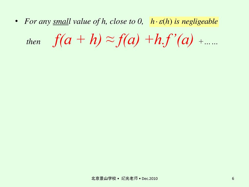 then f(a + h) ≈ f(a) +h.f'(a) +……