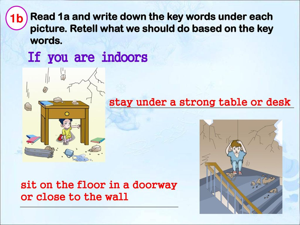 1b Read 1a and write down the key words under each picture. Retell what we should do based on the key words.