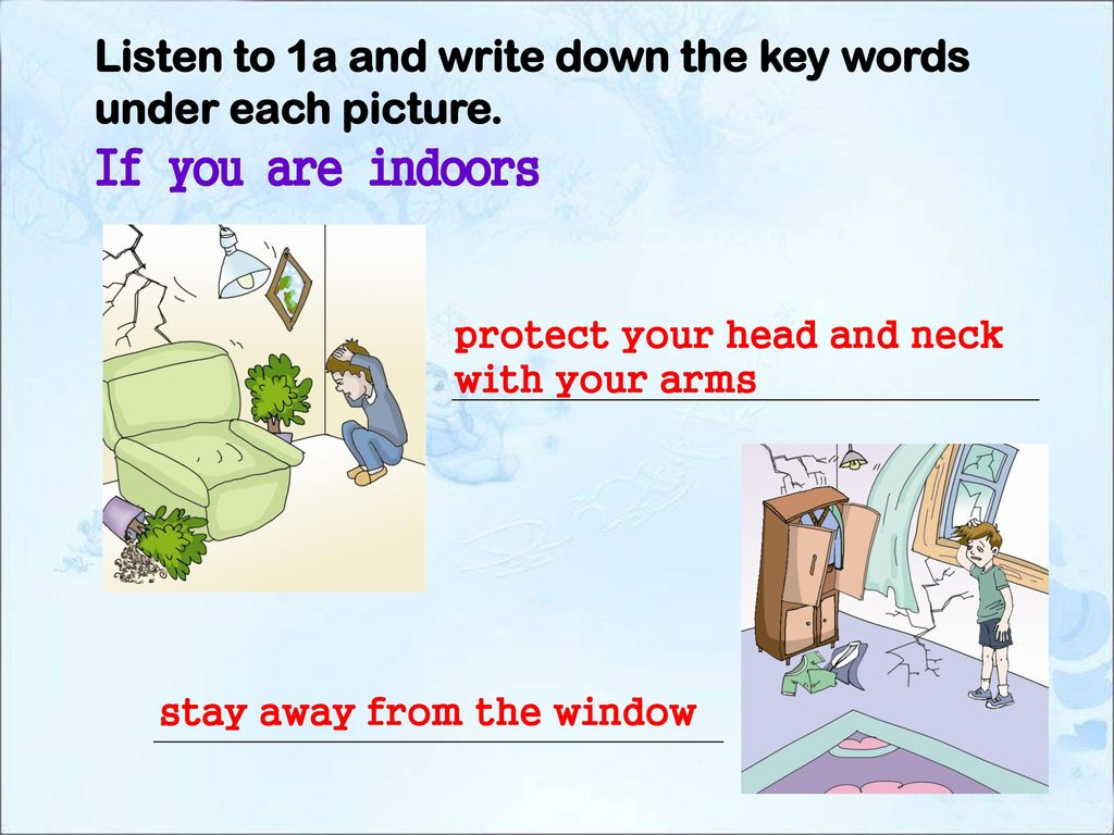 Listen to 1a and write down the key words under each picture.