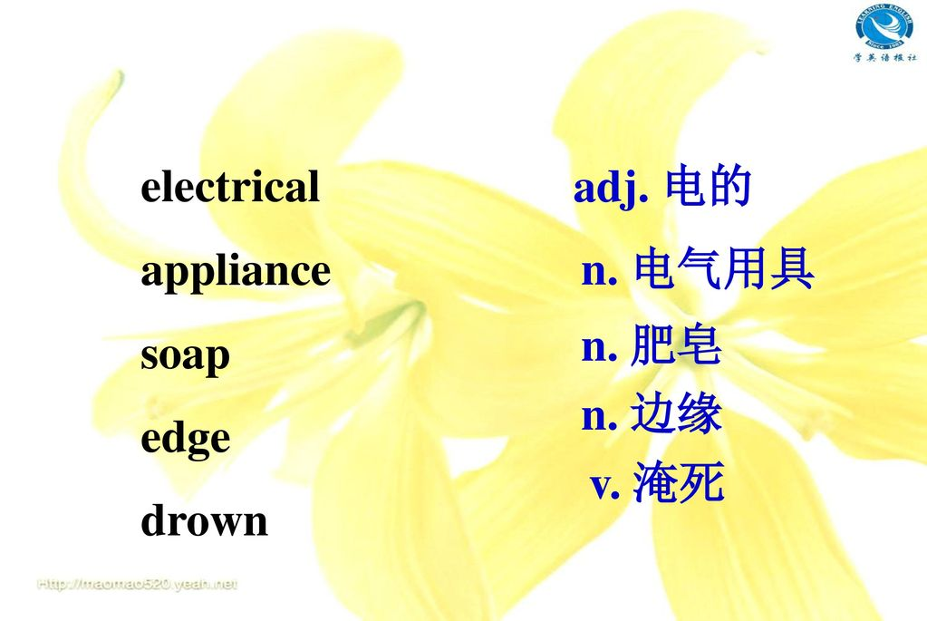electrical appliance soap edge drown adj. 电的 n. 电气用具 n. 肥皂 n. 边缘 v. 淹死