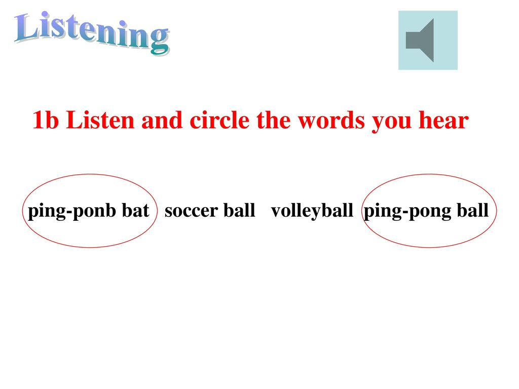 Listening 1b Listen and circle the words you hear