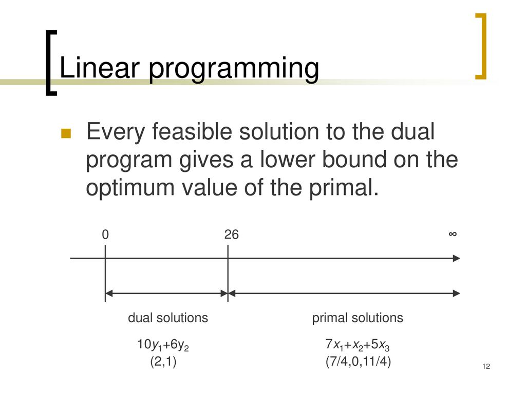 Linear programming Every feasible solution to the dual program gives a lower bound on the optimum value of the primal.