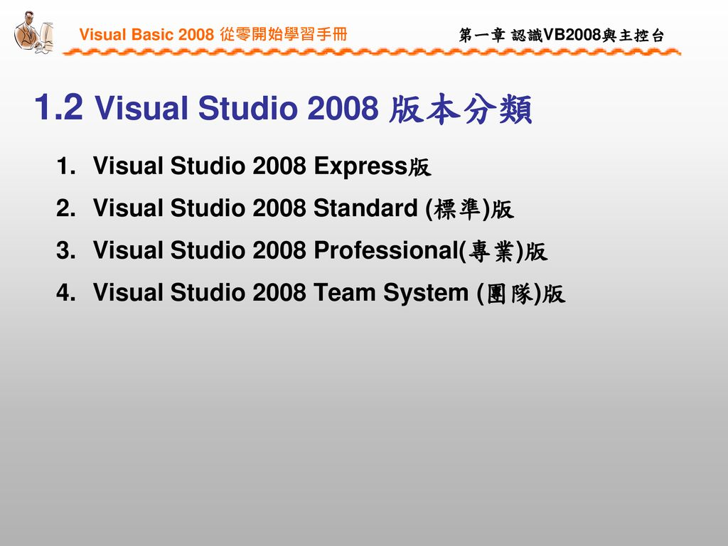 1.2 Visual Studio 2008 版本分類 Visual Studio 2008 Express版