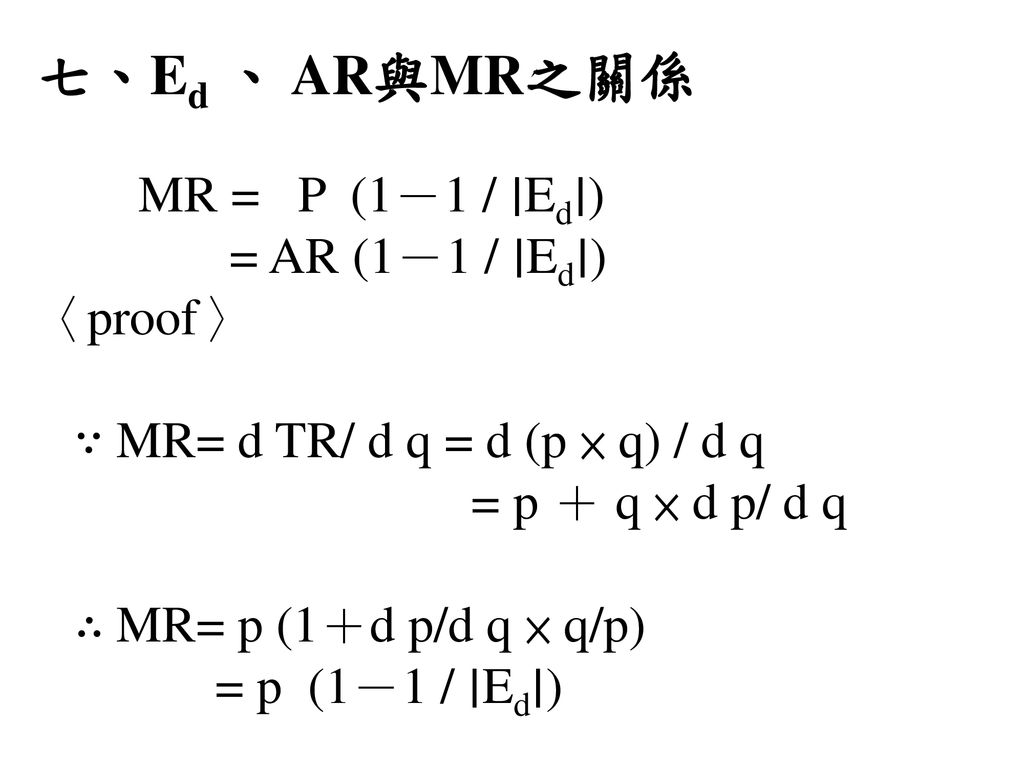 七、Ed 、 AR與MR之關係 〈proof〉 ∵ MR= d TR/ d q = d (p × q) / d q