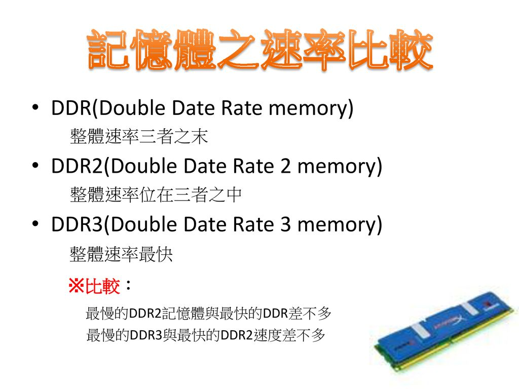 記憶體之速率比較 DDR(Double Date Rate memory) DDR2(Double Date Rate 2 memory)