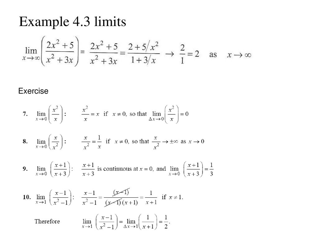 Example 4.3 limits Exercise