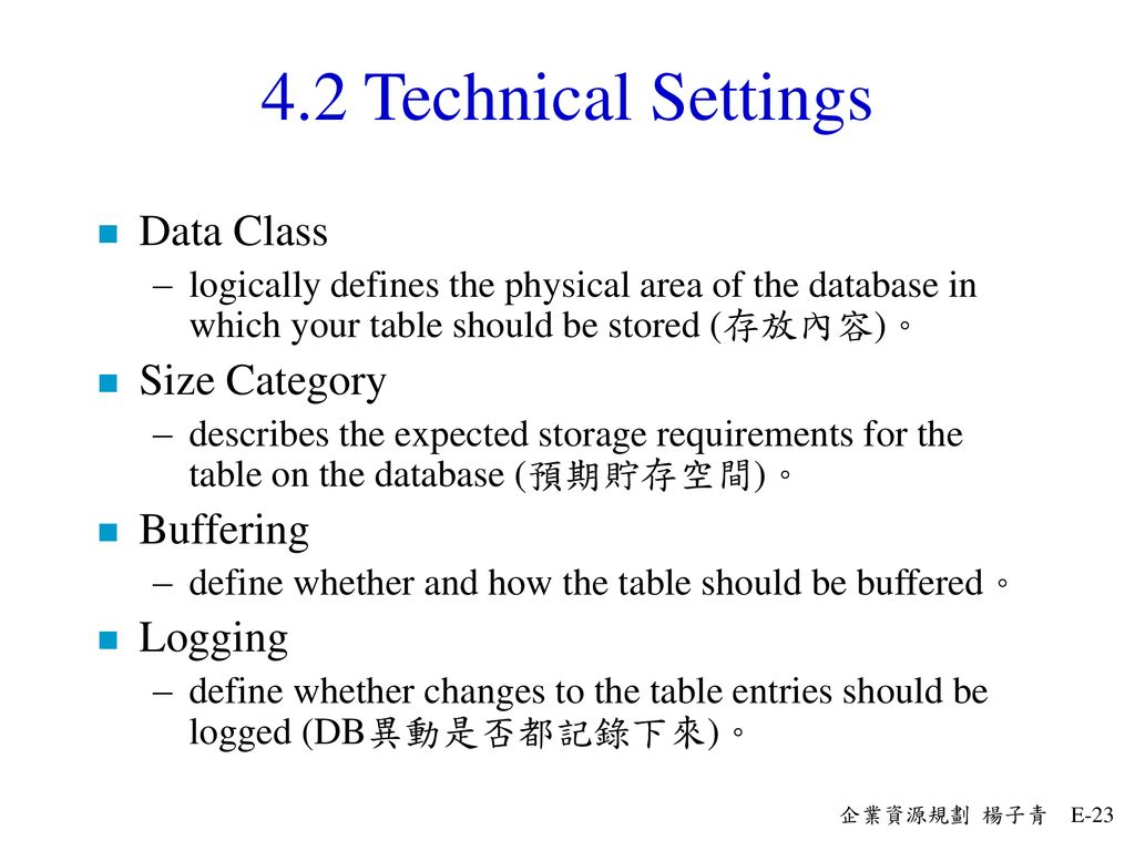 4.2 Technical Settings Data Class Size Category Buffering Logging