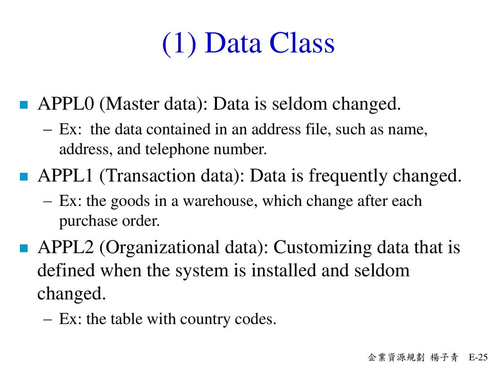 (1) Data Class APPL0 (Master data): Data is seldom changed.