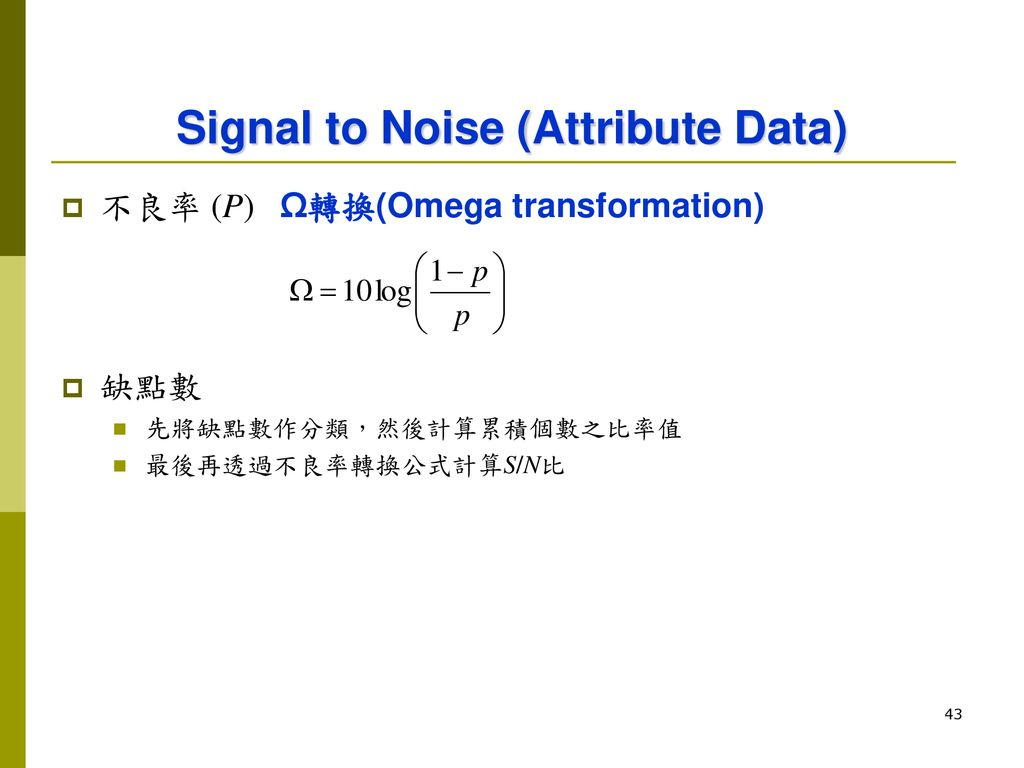 Signal to Noise (Attribute Data)