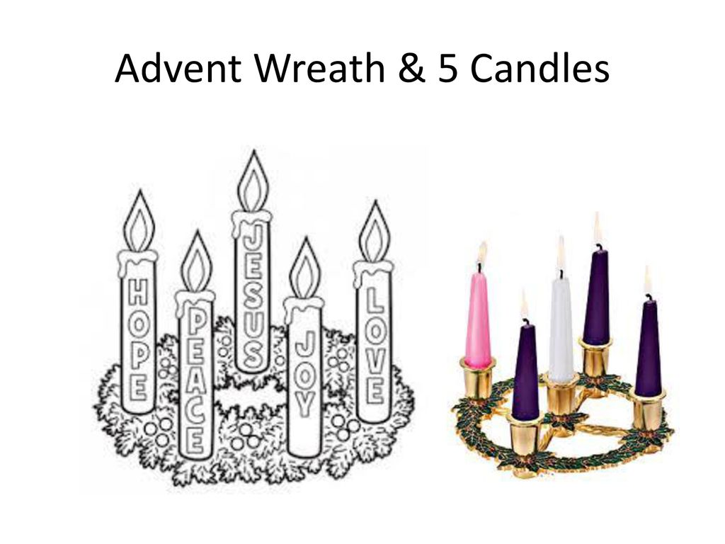 Advent Wreath & 5 Candles