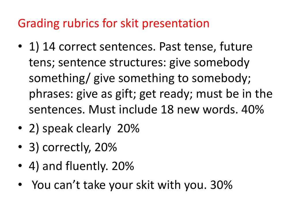 Grading rubrics for skit presentation