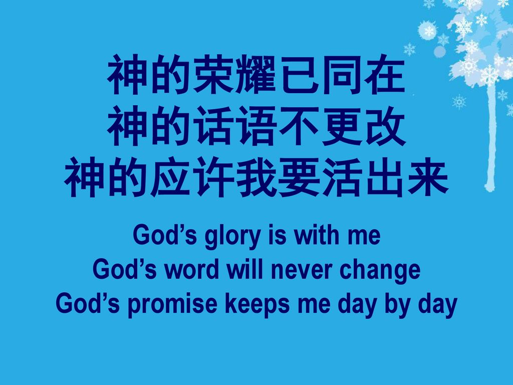 God's word will never change God's promise keeps me day by day