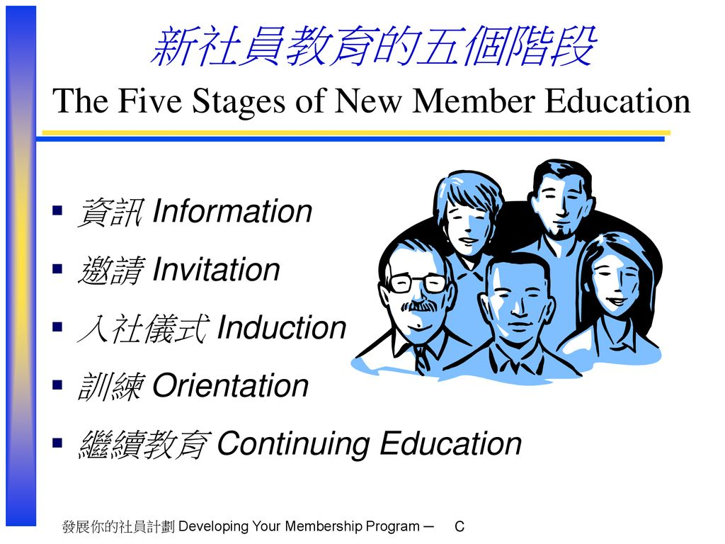 新社員教育的五個階段 The Five Stages of New Member Education