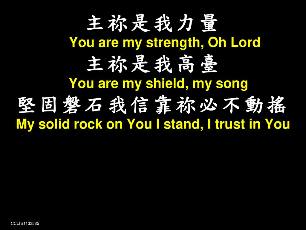 主祢是我力量 You are my strength, Oh Lord 主祢是我高臺 You are my shield, my song