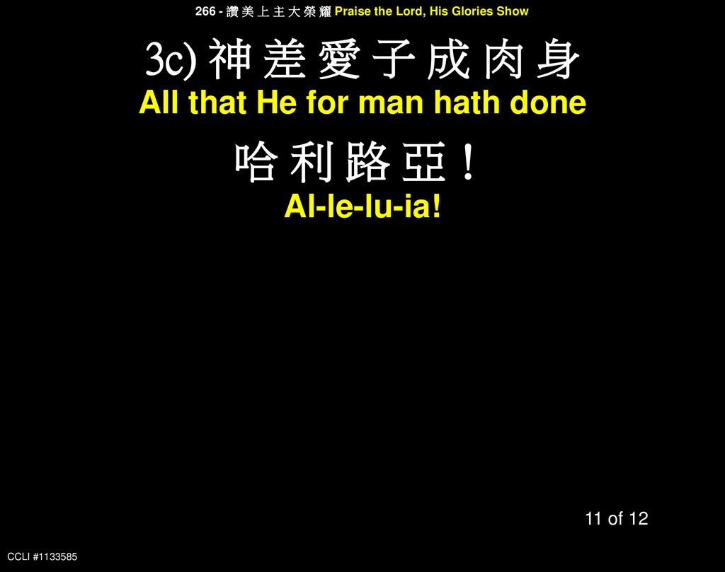 哈 利 路 亞! 3c) 神 差 愛 子 成 肉 身 All that He for man hath done Al-le-lu-ia!