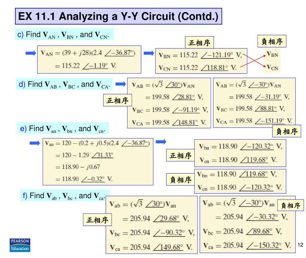 EX 11.1 Analyzing a Y-Y Circuit (Contd.)