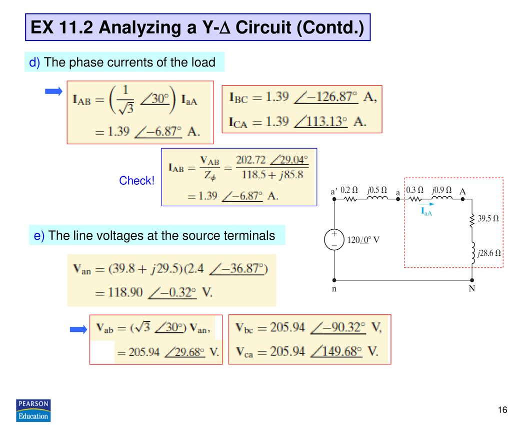 EX 11.2 Analyzing a Y- Circuit (Contd.)