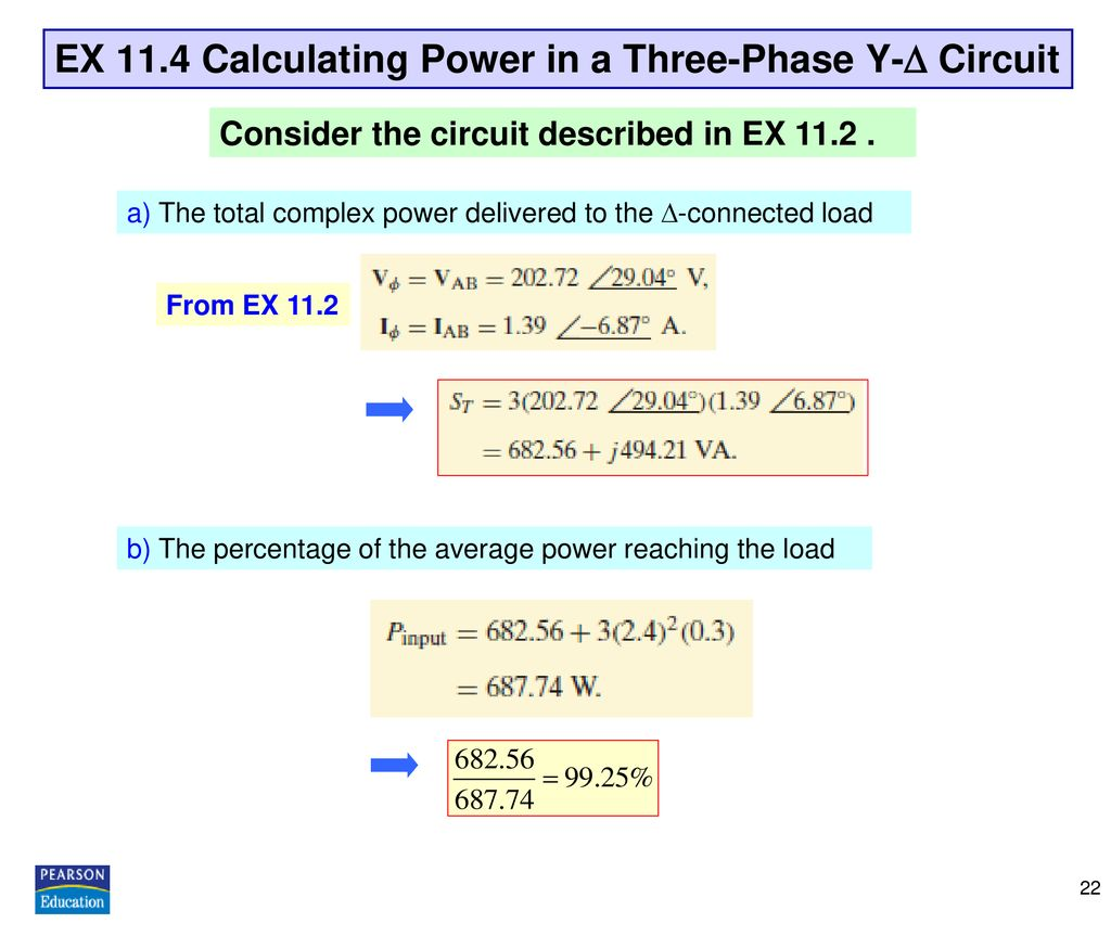 EX 11.4 Calculating Power in a Three-Phase Y- Circuit