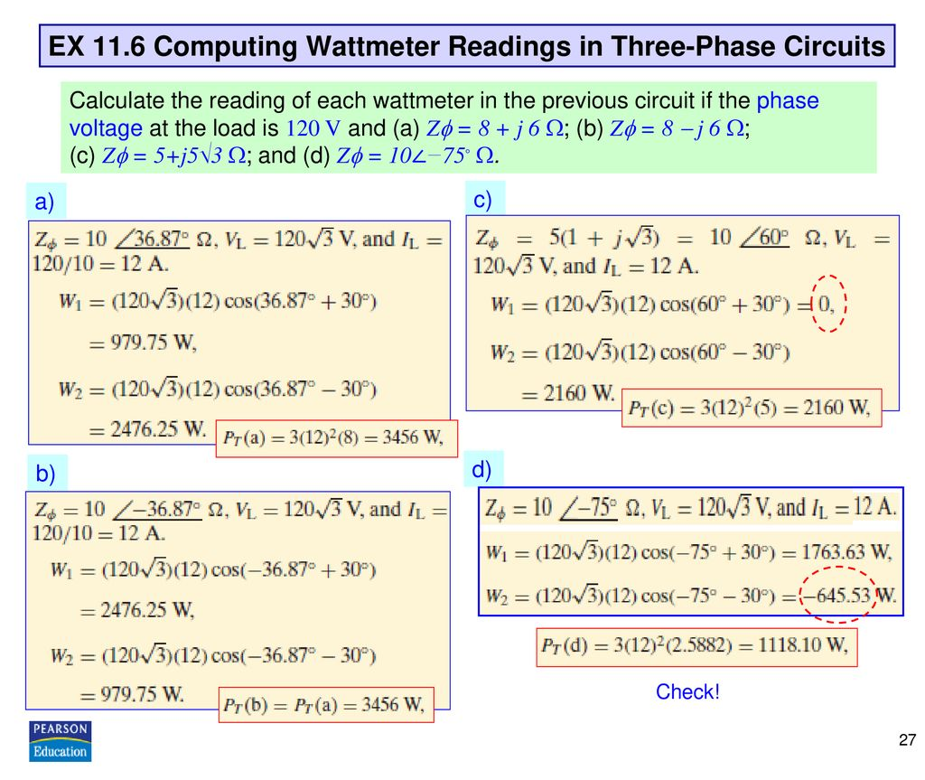 EX 11.6 Computing Wattmeter Readings in Three-Phase Circuits