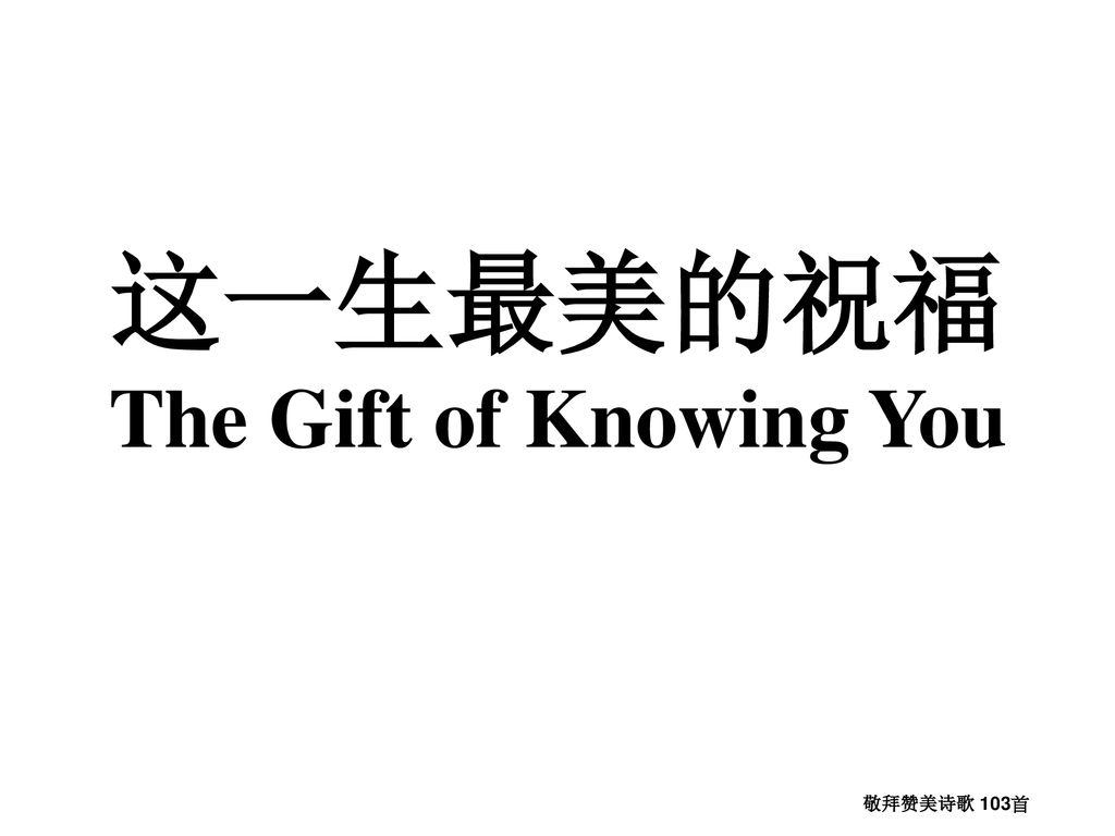 这一生最美的祝福 The Gift of Knowing You